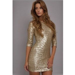 TFNC Stretch Sequin Mini Dress Pink Gold M / S